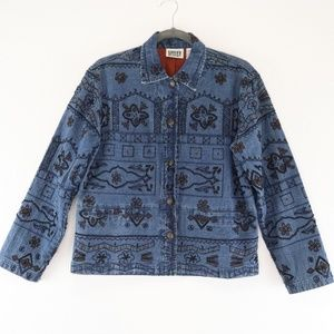 Chico's Embroidered Sequin Beaded Denim Jacket